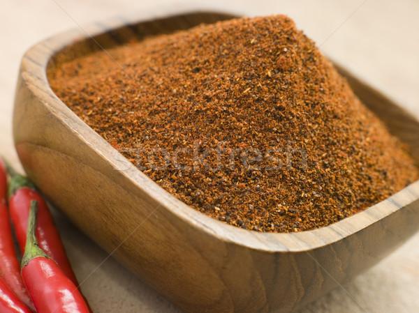 Dish of Hot Chili Powder with Fresh Chilies Stock photo © monkey_business