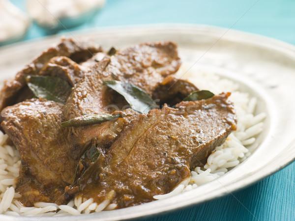 Szeletel kacsa mell főtt curry mártás Stock fotó © monkey_business