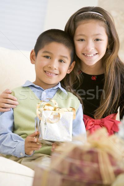 Foto stock: Irmão · irmã · sessão · sofá · natal