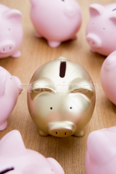 Golden Piggy Bank Among Many Pink Ones Stock photo © monkey_business