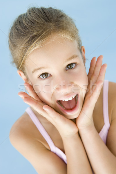 Stok fotoğraf: Genç · kız · heyecanlı · mutlu · kız · gülümseme · çocuk