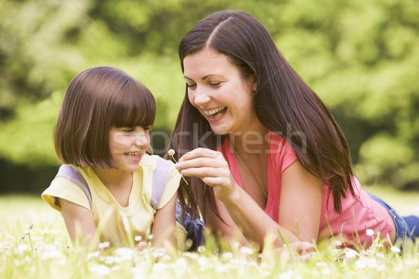 Photo stock: Mère · fille · extérieur · fleur · souriant · heureux