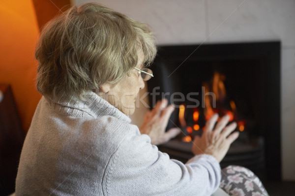 Senior Woman Warming Hands By Fire At Home Stock photo © monkey_business