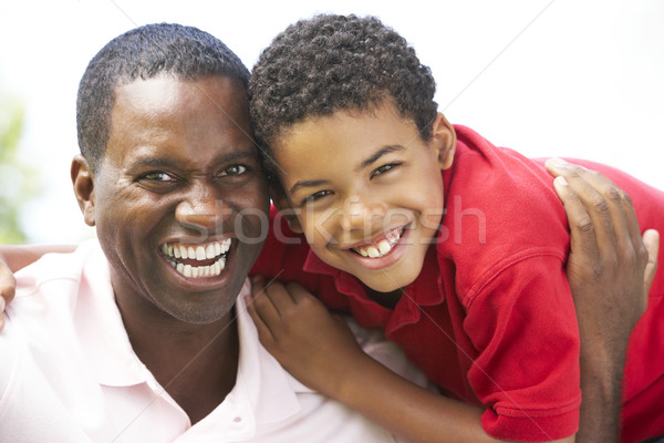 Stock photo: Portrait Of Father And Son In Park