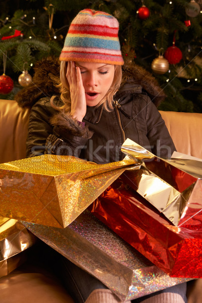 Tired Woman Returning After Christmas Shopping Trip Stock photo © monkey_business