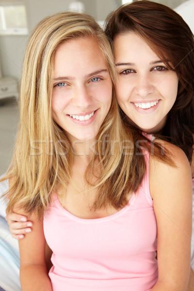 Foto stock: Retrato · família · adolescente · adolescentes · adolescentes