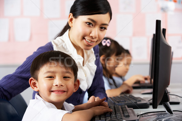 Teacher Helping Student During Computer Class In Chinese School  Stock photo © monkey_business