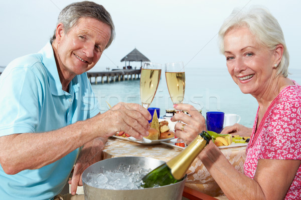 Senior Couple Enjoying Meal In Seafront Restaurant Stock photo © monkey_business