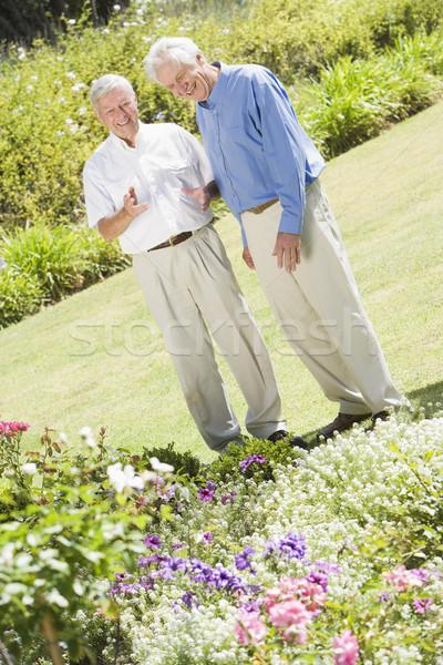 Senior men standing in garden Stock photo © monkey_business