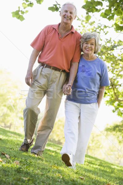 Foto stock: Casal · de · idosos · andar · mulher · homem · exercer