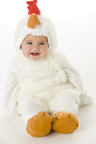 Stock photo: Baby in chicken costume