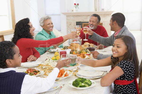 Foto stock: Família · juntos · natal · jantar · feliz