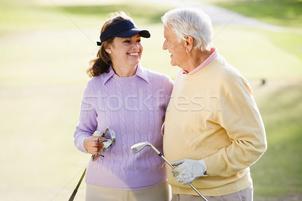 Paar genieten spel golf man sport Stockfoto © monkey_business