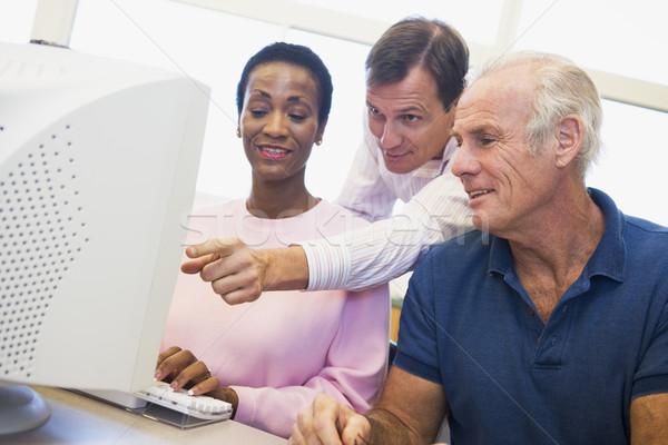 Zdjęcia stock: Dojrzały · studentów · nauki · komputera · umiejętności · edukacji