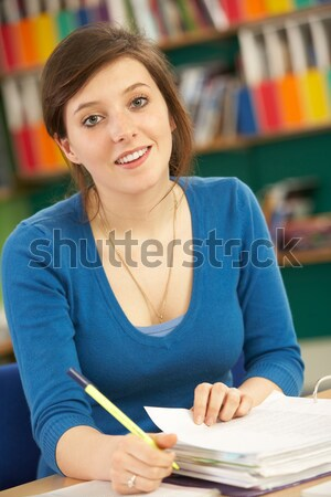 Stock fotó: Iskolás · lány · ül · elsődleges · osztály · diák · ír