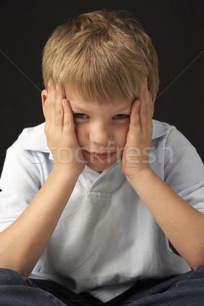 Zdjęcia stock: Studio · portret · zmartwiony · chłopca · twarz · smutne