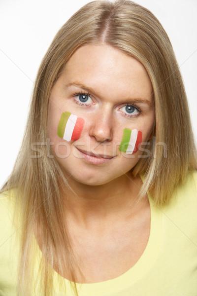 Jeunes Homme sport fan drapeau italien peint Photo stock © monkey_business