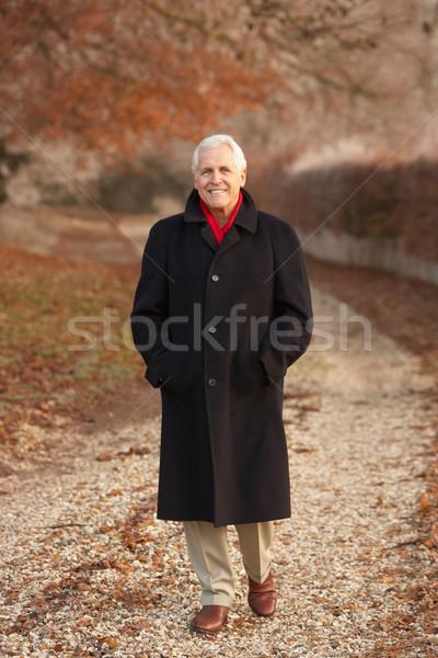Idős férfi tél séta fagyos tájkép Stock fotó © monkey_business