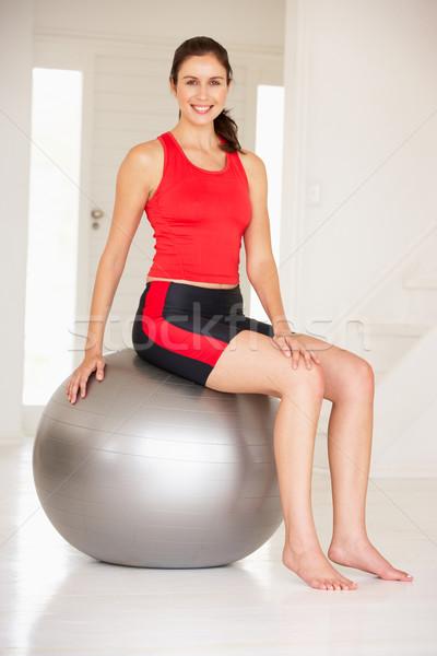 Donna palestra palla home muscolare studio Foto d'archivio © monkey_business
