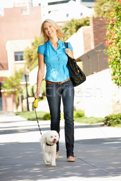 Woman walking with dog in city street Stock photo © monkey_business