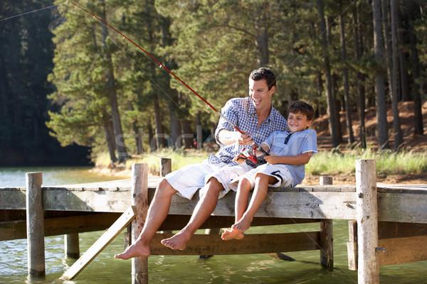 Vader zoon vissen samen man gelukkig zon Stockfoto © monkey_business