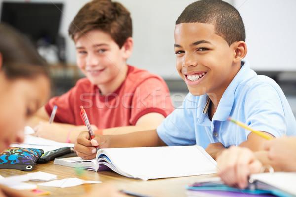 Stock foto: Schüler · Studium · Klassenzimmer · Buch · Kind · Bildung
