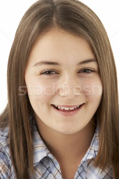 Zdjęcia stock: Portret · uśmiechnięty · młoda · dziewczyna · kolor · nastolatek · piękna