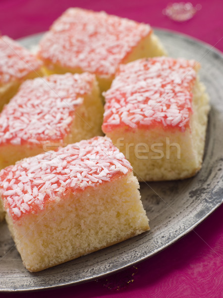 Pewter Plate with Coconut Cardamom and jam Sponges Stock photo © monkey_business