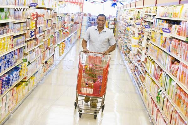 Stockfoto: Jonge · man · kruidenier · winkelen · supermarkt · voedsel · man