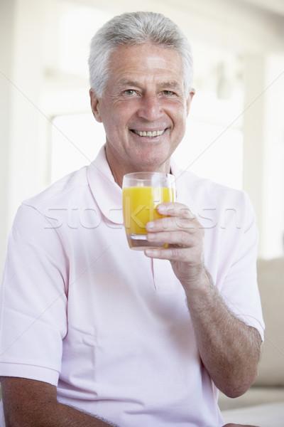 ストックフォト: 飲料 · オレンジジュース · 男 · ホーム · ガラス