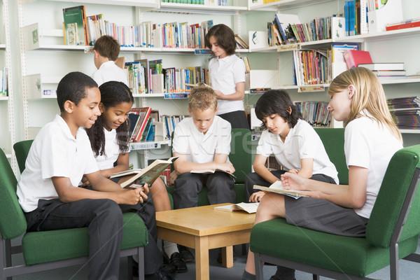 学校 学生 作業 ライブラリ 図書 教育 ストックフォト © monkey_business