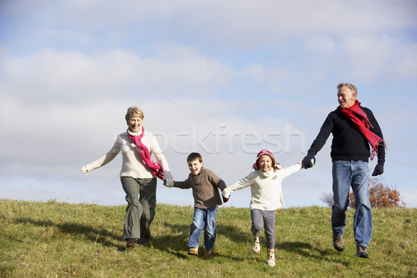 Grands-parents petits enfants courir parc famille homme Photo stock © monkey_business