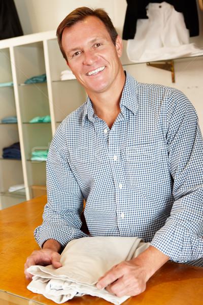Férfi dolgozik divat bolt üzlet boldog Stock fotó © monkey_business