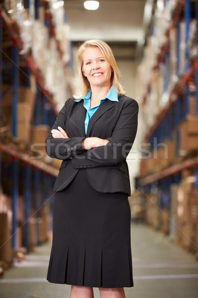 Stockfoto: Portret · vrouwelijke · manager · magazijn · vrouwen · vak