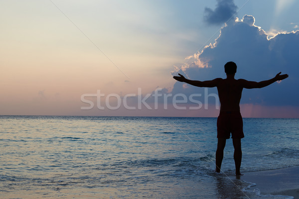 Silhouette Of Man With Outstretched Arms On Beach At Sunset Stock photo © monkey_business