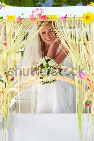 Menyasszony koszorúslány ül díszített tengerpart esküvő Stock fotó © monkey_business
