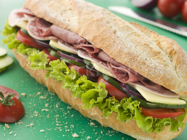 Sandwich brood vlees mes tomaat Stockfoto © monkey_business