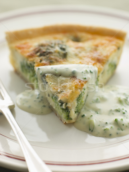Broccoli and Roquefort Quiche with Broccoli sauce Stock photo © monkey_business