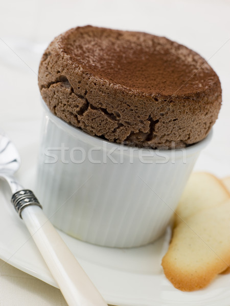 Hot Chocolate Souffle with Langue de Chat Biscuits Stock photo © monkey_business