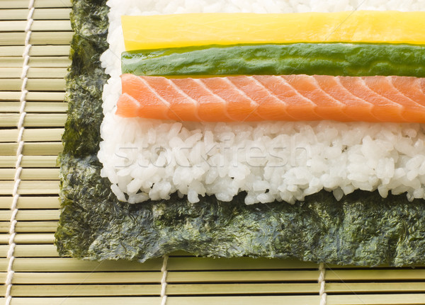 Making Rolled Sushi in a Sushi Mat Stock photo © monkey_business