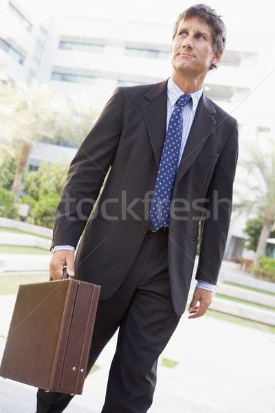 Foto stock: Empresario · caminando · aire · libre · masculina · maletín · romper