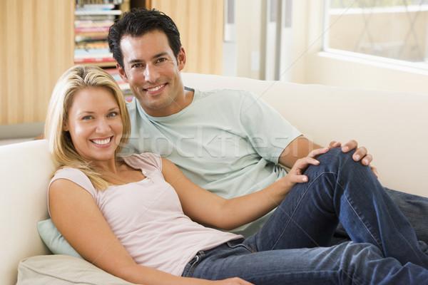 пару гостиной чтение газета улыбаясь женщину Сток-фото © monkey_business