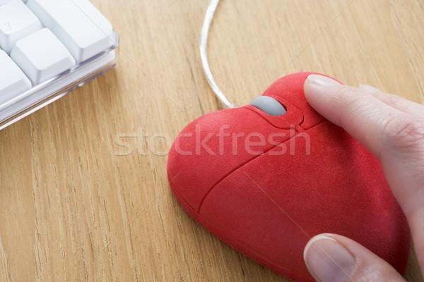 Computermuis hand technologie Rood romantiek kleur Stockfoto © monkey_business