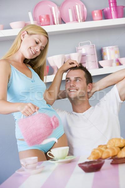 情侶 享受 早餐 女子 家 商業照片 © monkey_business