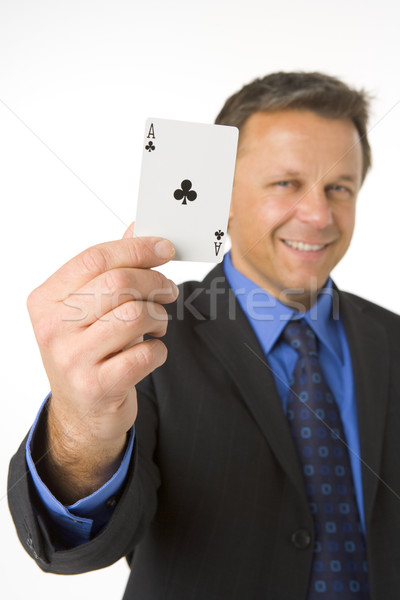 Businessman Holding The Ace Of Clubs Stock photo © monkey_business