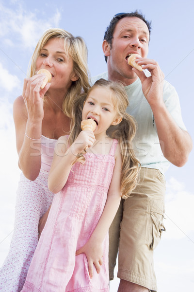 Family standing outdoors with ice cream Stock photo © monkey_business