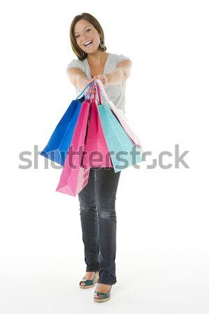 Foto stock: Retrato · menina · compras · cor · em · pé