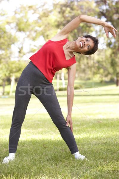 Stockfoto: Senior · vrouw · park · oefening · chinese