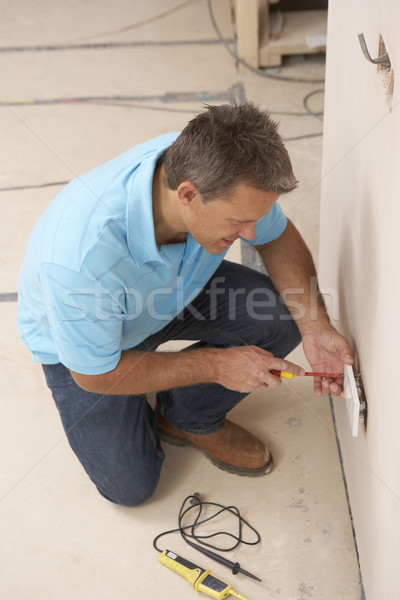 Electrician Installing Wall Socket Stock photo © monkey_business