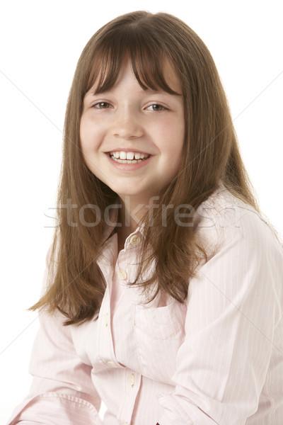 Stockfoto: Jong · meisje · vergadering · studio · meisje · gelukkig · portret
